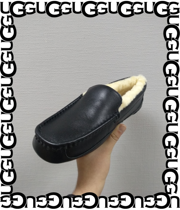 Мокасины UGG Ascot Leather Black (Чёрные)