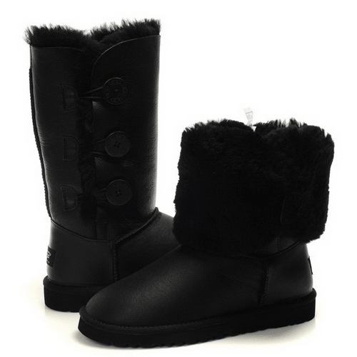 Фото UGG Bailey Button Triplet Leather Black