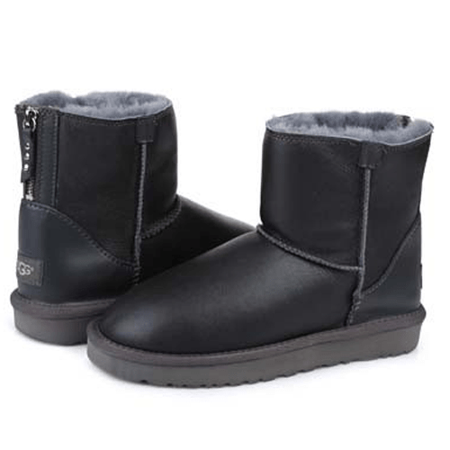 Фото UGG Classic Mini Zip Leather Grey