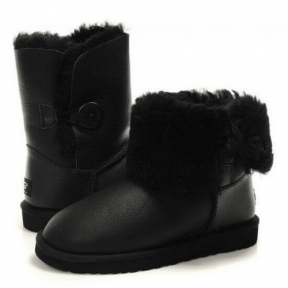 Фото UGG Kid's Bailey Button Leather Black