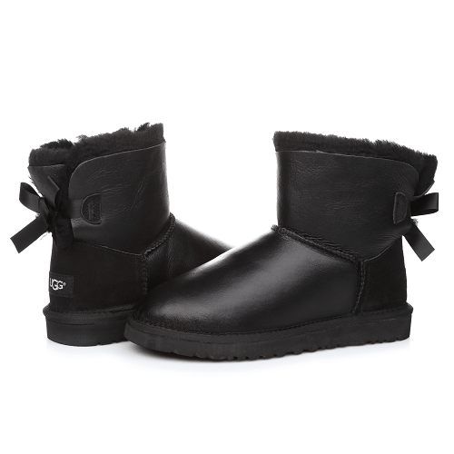 Фото UGG Mini Bailey Bow Leather Black