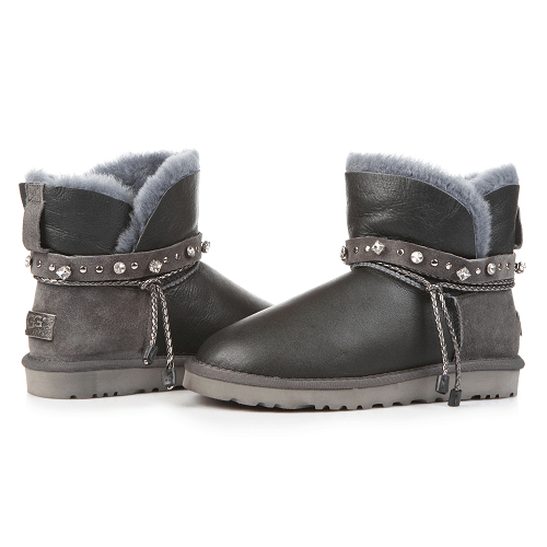 Фото UGG Mini Strap Leather Grey