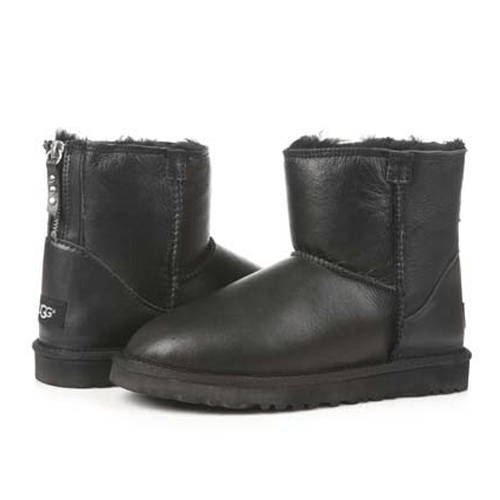 Фото UGG Classic Mini Zip Leather Black