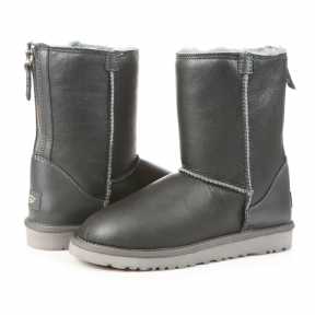 Фото UGG Classic Zip Leather Grey