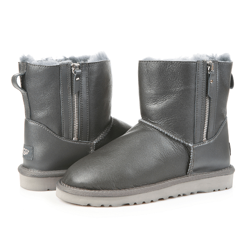 Фото UGG Mini Double Zip Leather Grey