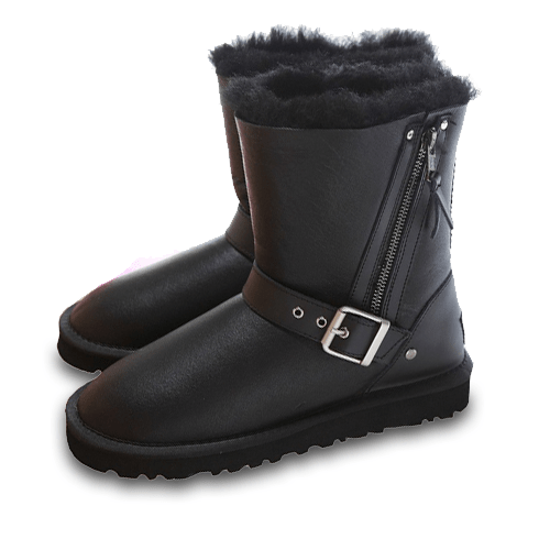 Фото UGG Short Blaise Leather Black