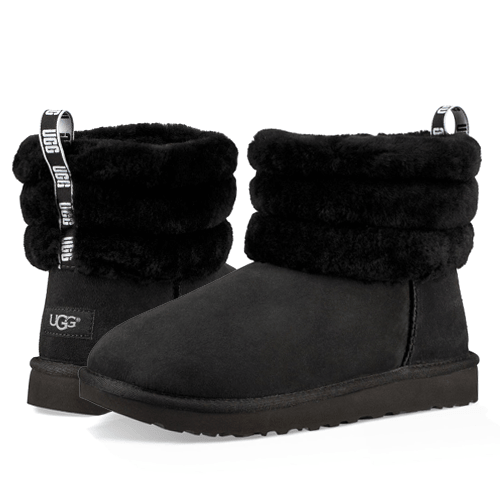 Фото UGG Classic II Mini Fluff Quilted Black