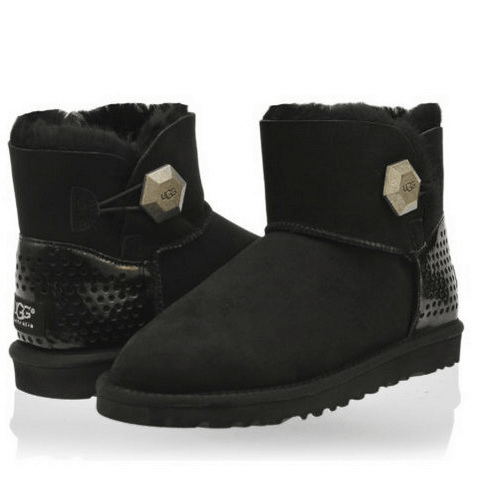 Фото UGG Mini Bailey Button Geo Perf Black
