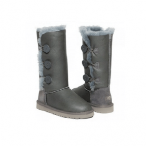 Фото UGG Bailey Button Triplet Leather Grey