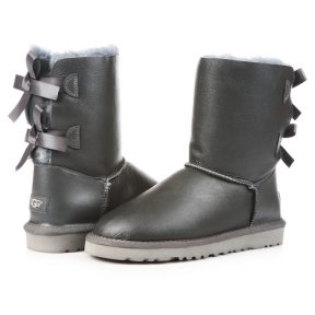 Фото UGG Short Bailey Bow Leather Grey