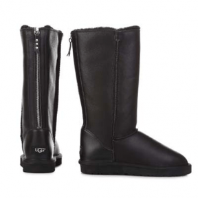 Фото UGG Classic Tall Zip Leather Black