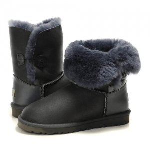 UGG Kid's Bailey Button Leather Grey