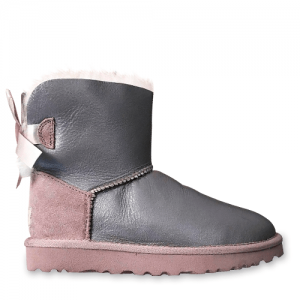 UGG Mini Bailey Bow Leather Grey Pink