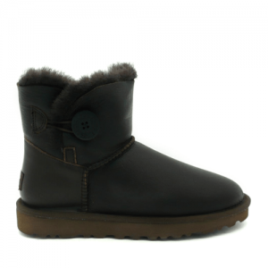 UGG Mini Bailey Button Leather Chocolate