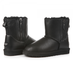 UGG Mini Double Zip Leather Black