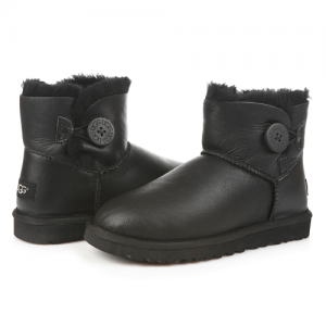 UGG Mini Bailey Button Leather Black