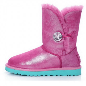 UGG Bailey Button Swarovski Leather Pink